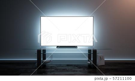 Blank white tv screen interior in darkness mockup 57211100