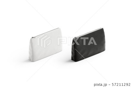 Blank black and white canvas pouch mockup set, isolated 57211292