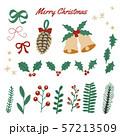 クリスマスと冬の植物のパーツ素材セット 57213509