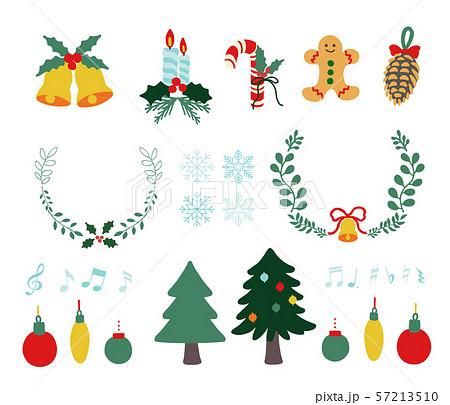 カラフルなクリスマスのフラットアイコンセット 57213510