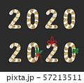 クリスマスキャンディーで構成された2020年ロゴベクターイラスト 57213511