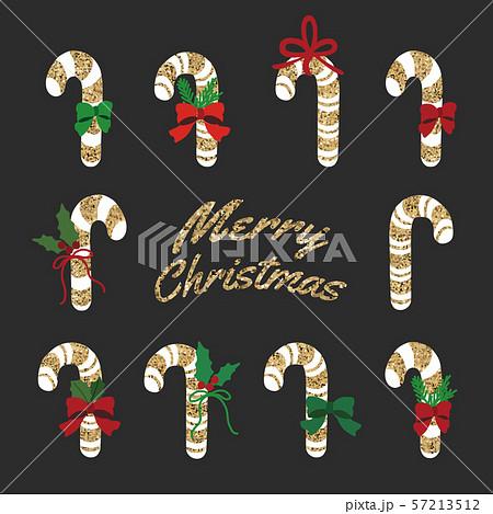 キラキラ ラメゴールドグリッターのクリスマスキャンディーセット 57213512