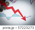 矢印 為替 資産運用 投資 下降 下向き ローソク足 57223273