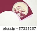 和風-背景素材-扇-蓮の葉-臙脂 57225267