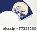 和風-背景素材-扇-蓮の葉-藍色 57225268