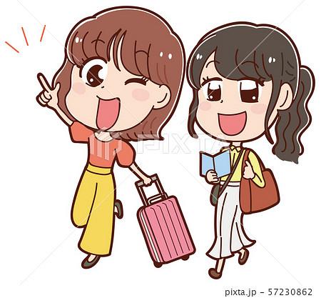 2人旅をする女性のイラスト 57230862