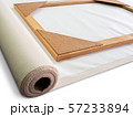 Closeup wooden frame on roll white artist cotton canvas. 57233894