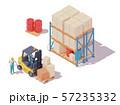 Vector isometric forklift and warehouse workers 57235332
