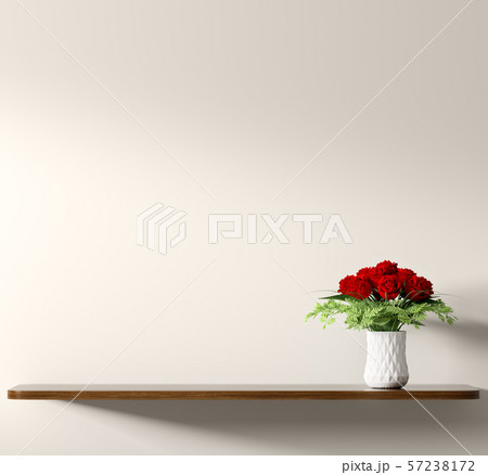 Shelf with bouquet of red roses in white vase over 57238172