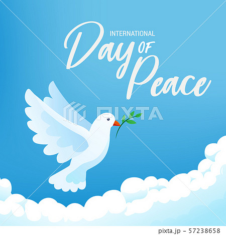 International day of peace banner poster with white bird and olive branch in clear blue sky, vector 57238658