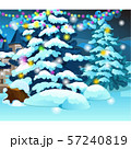 Christmas tree with glowing garlands on background of wooden house of a small town. Sample of poster 57240819