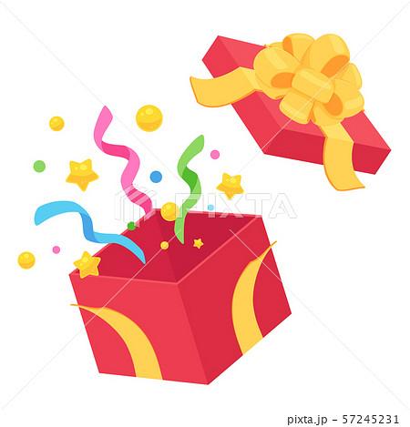 プレゼントの開いた箱_赤_黄色_フラワーリボン 57245231