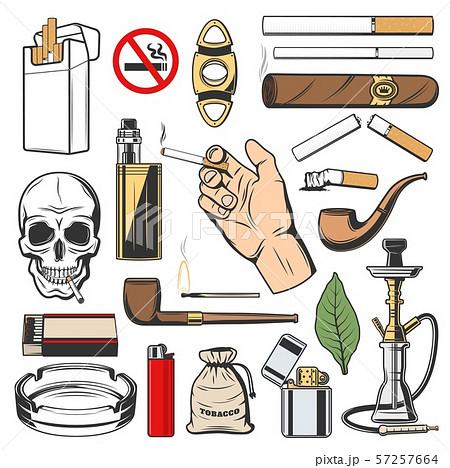 Tobacco icons, smoking cigarettes and vapes 57257664