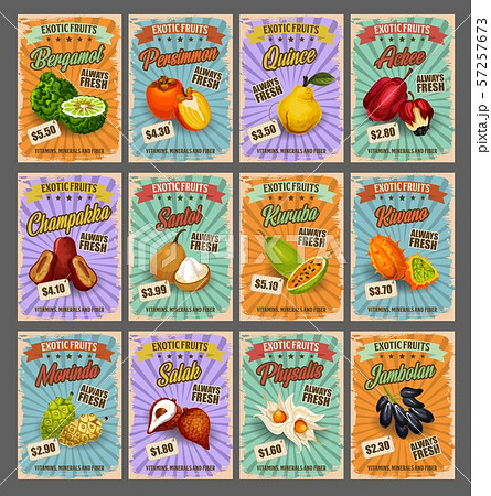 Tropical fruits price cards, vector exotic food 57257673