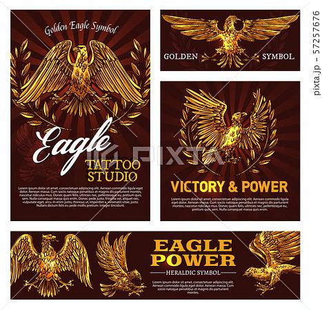 Heraldic golden eagles with laurel branches 57257676