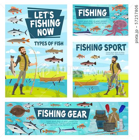 Fisher catching fish, fishing sport gear 57257806