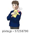 赤ちゃんにげっぷをさせる若い父親 57258790