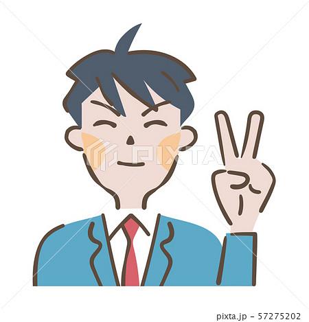 Vサインする笑顔の男子高校生 イラスト 57275202