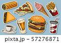 Junk Fast food, burger and hamburger, tacos and hot dog, burrito and beer, drink and ice cream 57276871