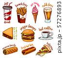 Junk Fast food, burger and hamburger, tacos and hot dog, burrito and beer, drink and ice cream 57276893