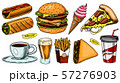 Junk Fast food, burger and hamburger, tacos and hot dog, burrito and beer, drink and ice cream 57276903