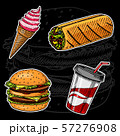 Junk Fast food, Sandwich and Ice Cream, Burger and Soft Drink on a black background. Vintage Sketch 57276908