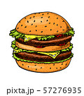 Big burger in vintage style. Fast food illustration for banners or posters. Hand drawn sandwich with 57276935