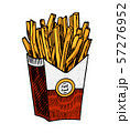 French fries in vintage style. Fast food illustration for banners or posters. Hand drawn sticker. 57276952