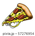A slice of pizza. Fast food in vintage style. Hand drawn illustration for a label or badge. 57276954
