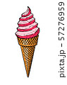 Pink ice cream in vintage style. Engraved in ink hand drawn in old sketch for web, invitation.  57276959