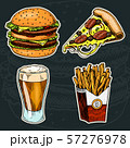 Junk Fast food, Burger and pizza, beer and french fries on a black background. Vintage Sketch for 57276978