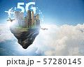 Concept of 5g technology with floating island 57280145
