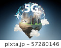 Concept of 5g technology with floating island 57280146