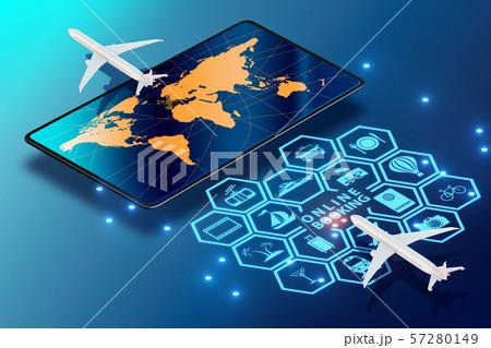Concept of online airtravel booking - 3d rendering 57280149