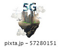 Concept of 5g technology with floating island 57280151