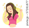 Happy teenager brunette woman listening to relaxation music with headphones 57281877