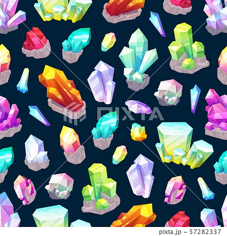 Seamless pattern of crystals and gemstones 57282337