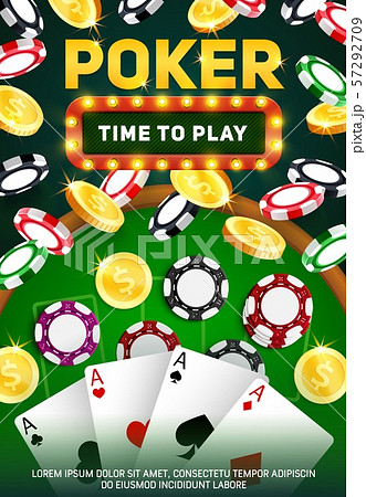 Casino poker cards. Chips, aces and golden coins 57292709