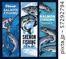 Fishing tournament, salmon fish and fishery rods 57292794