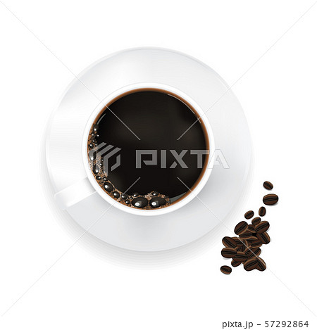 Cup of coffee and coffee beans Isolated Vector Illustration 57292864