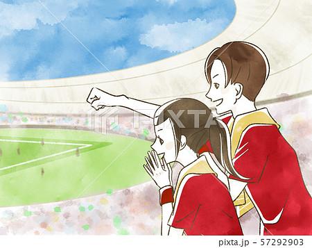 スポーツ観戦する女性・男性-夫婦・カップル 57292903