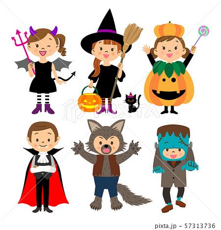 ハロウィンの仮装をする子供たち 01 57313736