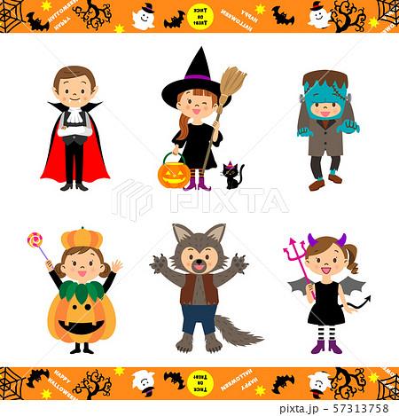 ハロウィンの仮装をする子供たち 04 57313758