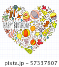 Vector set of cute creative illustration templates with birthday theme design. Hand Drawn for 57337807