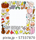 Vector set of cute creative illustration templates with birthday theme design. Hand Drawn for 57337870