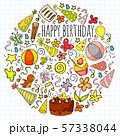 Vector set of cute creative illustration templates with birthday theme design. Hand Drawn for 57338044