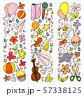 Vector set of cute creative illustration templates with birthday theme design. Hand Drawn for 57338125