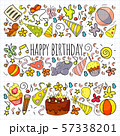Vector set of cute creative illustration templates with birthday theme design. Hand Drawn for 57338201