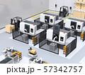 協働型双腕ロボット、AGV無人搬送車、マシニングセンタ、自動運転フォークリフトがあるスマート工場 57342757