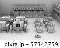 双腕ロボット、AGV無人搬送車、マシニングセンタがあるスマート工場のクレイレンダリングイメージ 57342759